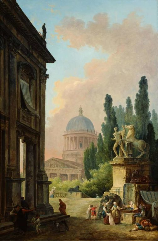 1415877623_hubert_robert_-_imaginary_view_of_rome_with_the_horse-tamer_of_the_monte_cavallo_and_a_church_-_google_art_project
