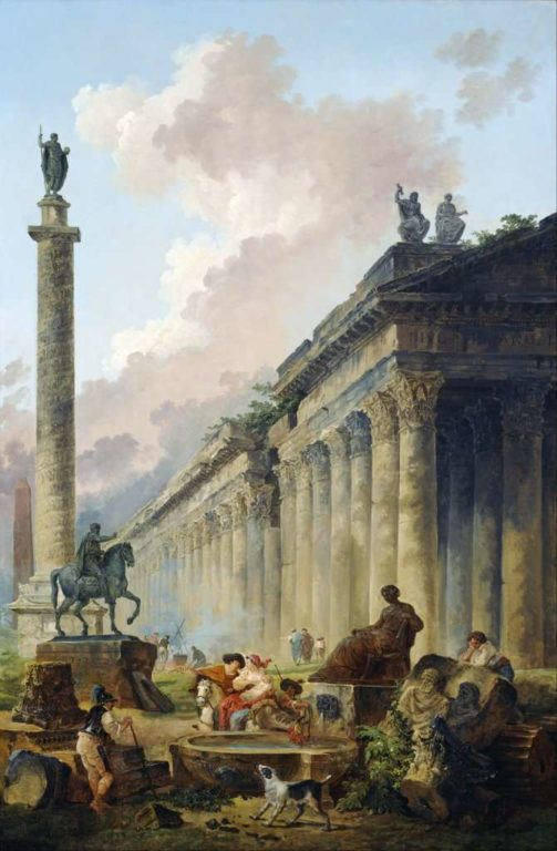 1415877645_hubert_robert_-_imaginary_view_of_rome_with_equestrian_statue_of_marcus_aurelius_the_column_of_trajan_and_a_temple_-_google_art_project