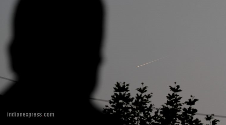 Amid surgical strikes carried by he Indian Army and cross-LoC tensions, a falling meteorite created panic among the onloookers who took it for a missile in Srinagar Express Photo by Shuaib Masoodi 29-09-2016