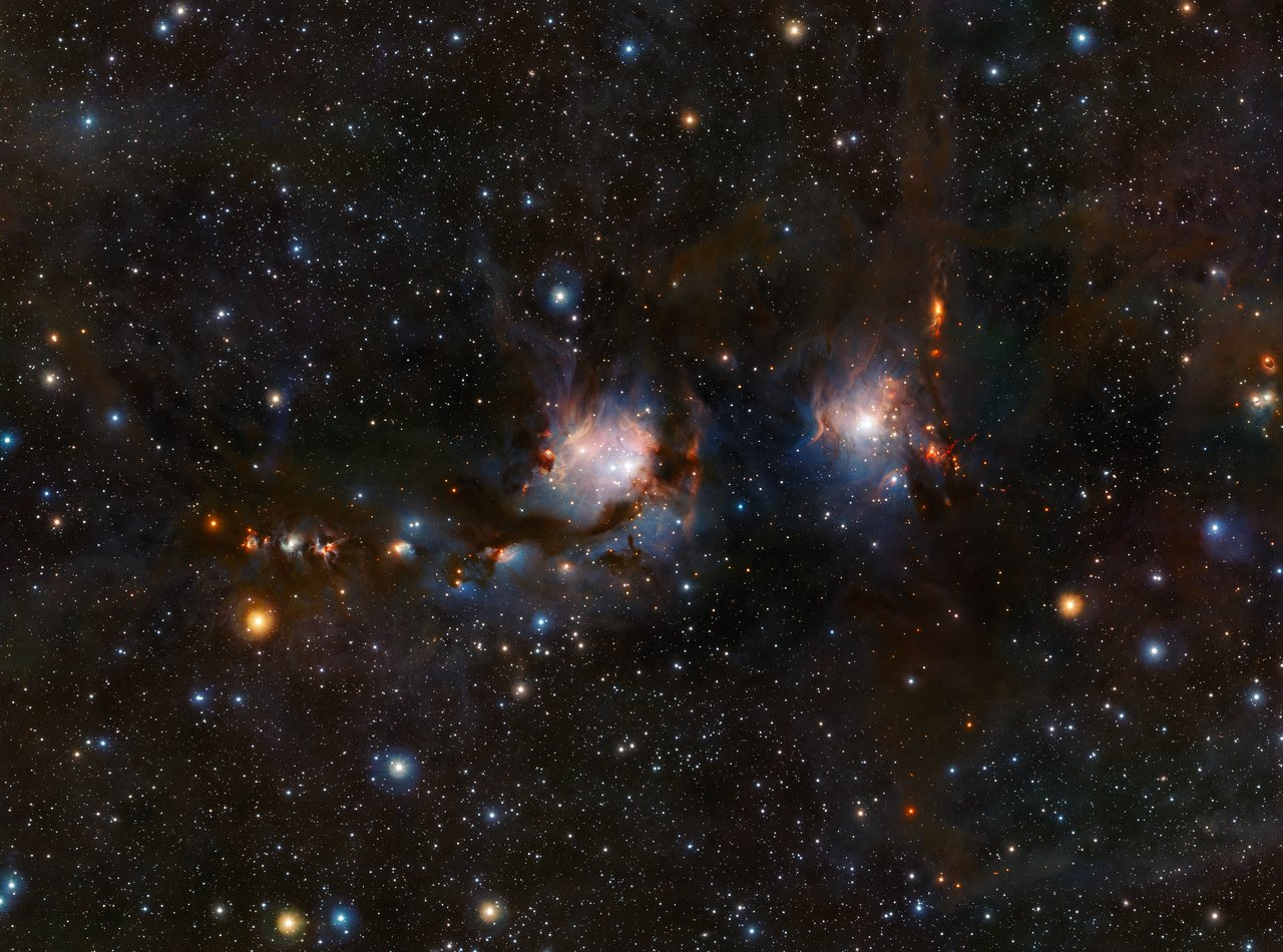 This richly detailed view of the star formation region Messier 78, in the constellation of Orion (The Hunter), was taken with the VISTA infrared survey telescope at ESO's Paranal Observatory in Chile. As well as the blue regions of reflected light from the hot young stars the image also shows streams of dark dust and the red jets emerging from stars in the process of formation.