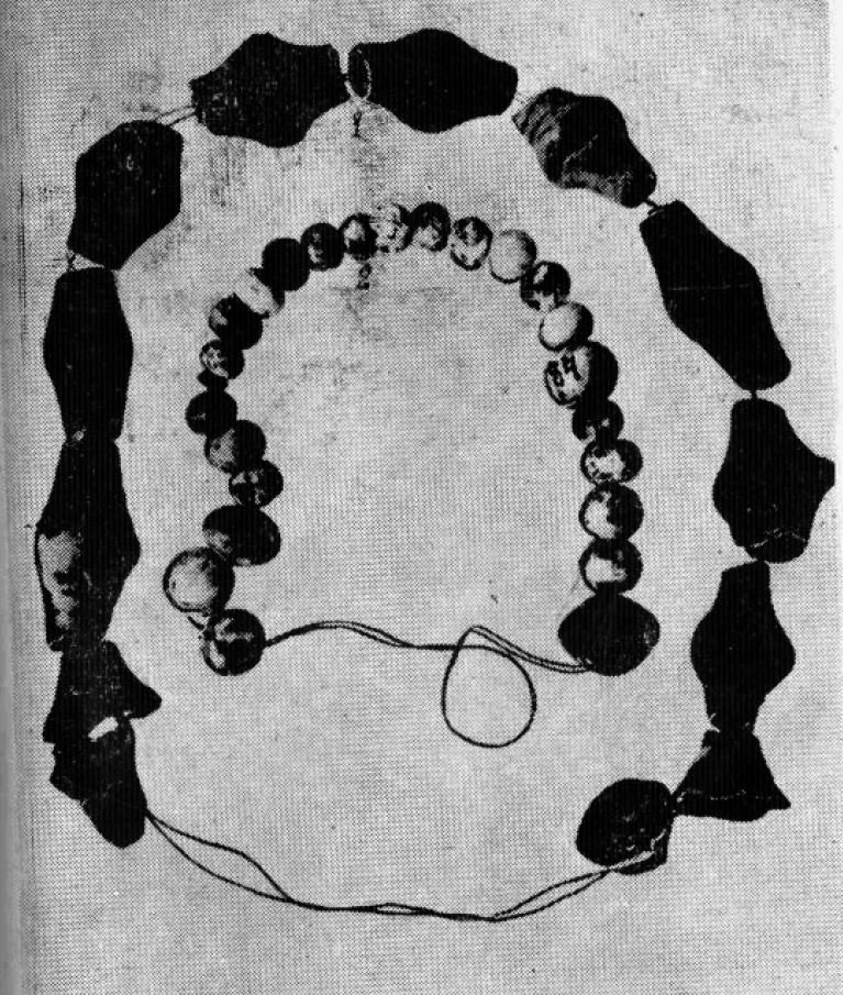 The beads from a cornelian found at excavation the esherskikh of cromlechs