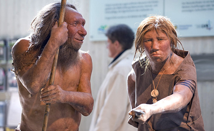 Reconstruction of appearance of Neanderthal men in the museum of the city of Mettman