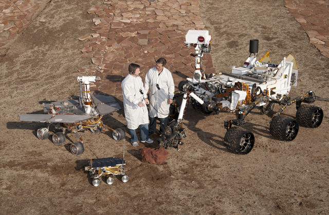 Eric Aguilar order 111211 Group photos in Mars Yard MER DTM, Marie Curie, MSL DTM, Matt and Wes photog: Dutch Slager