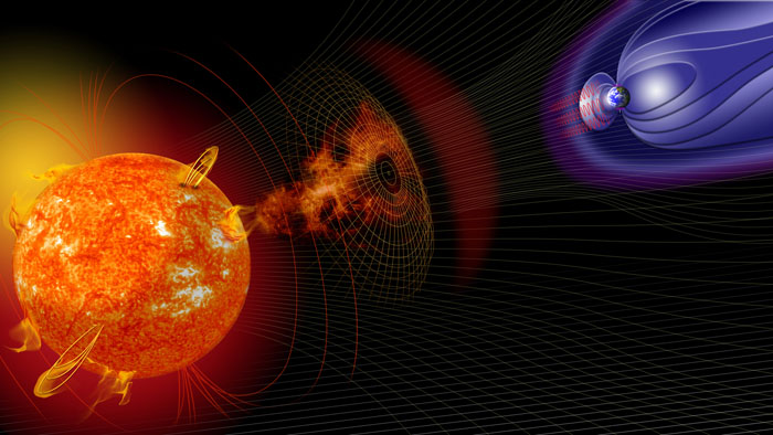 An artist's illustration of events on the Sun changing the conditions in Near-Earth space.