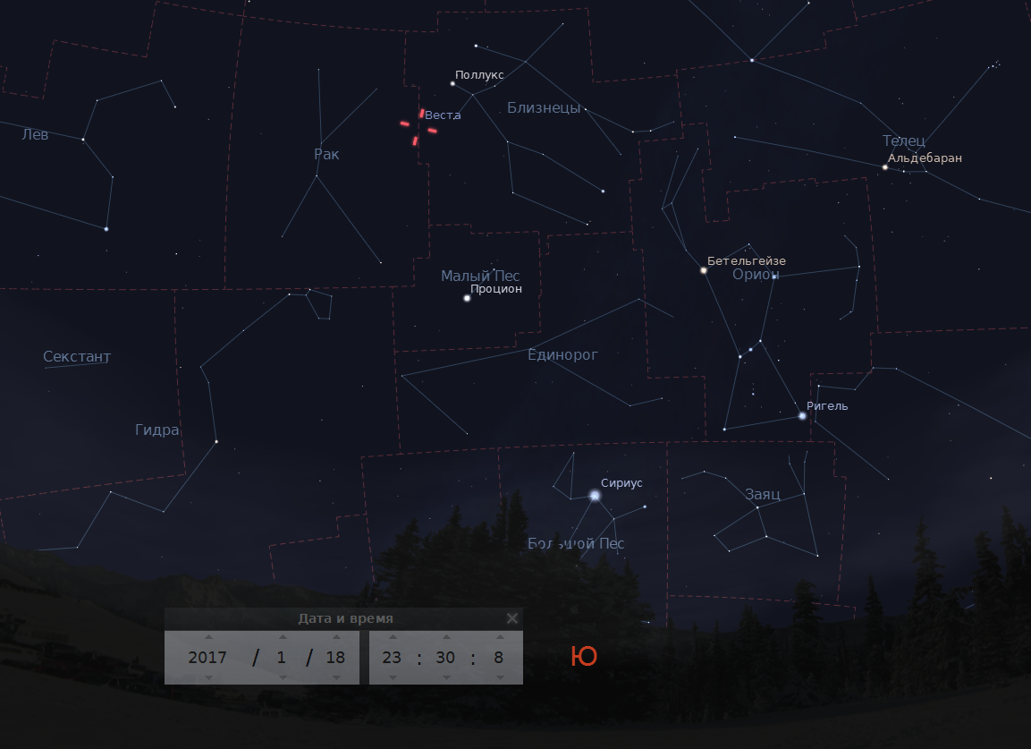 On 18 January, the asteroid Vesta can be seen with the ...