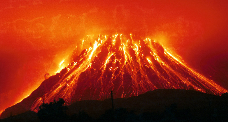 magma in the volcano between eruptions freezes and forms a cork