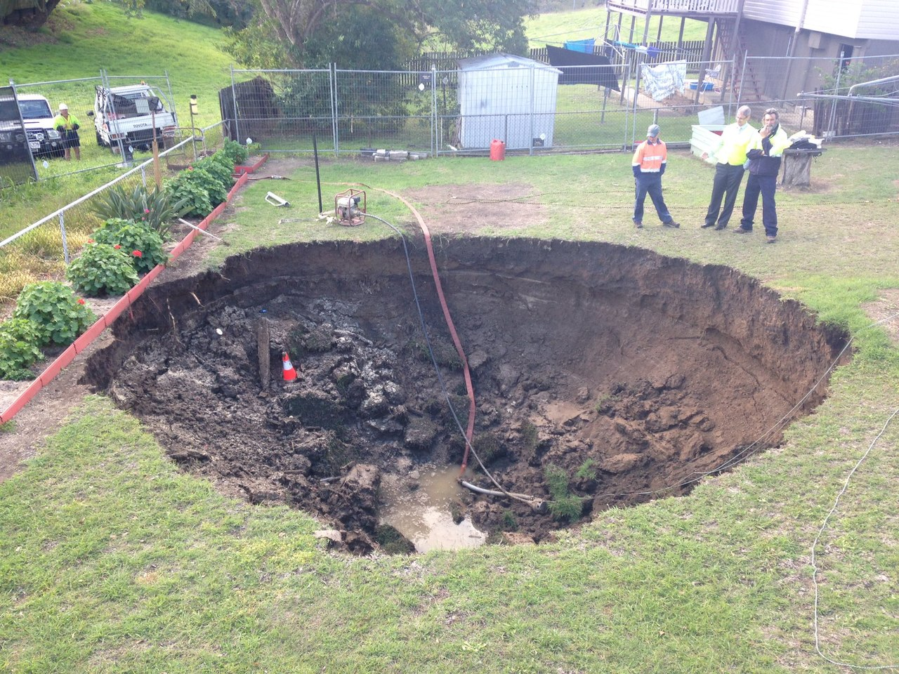 In Australia The Courtyard Formed A Sinkhole Earth
